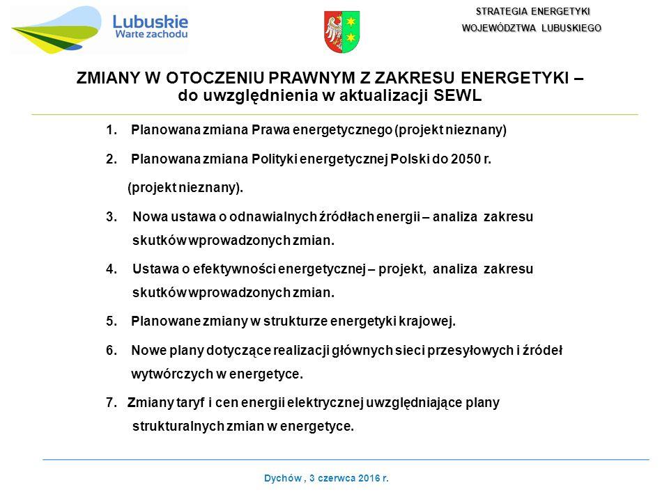 ZMIANY W OTOCZENIU PRAWNYM Z ZAKRESU ENERGETYKI – do uwzględnienia w aktualizacji SEWL 1.Planowana zmiana Prawa energetycznego (projekt nieznany) 2.Planowana zmiana Polityki energetycznej Polski do 2050 r.