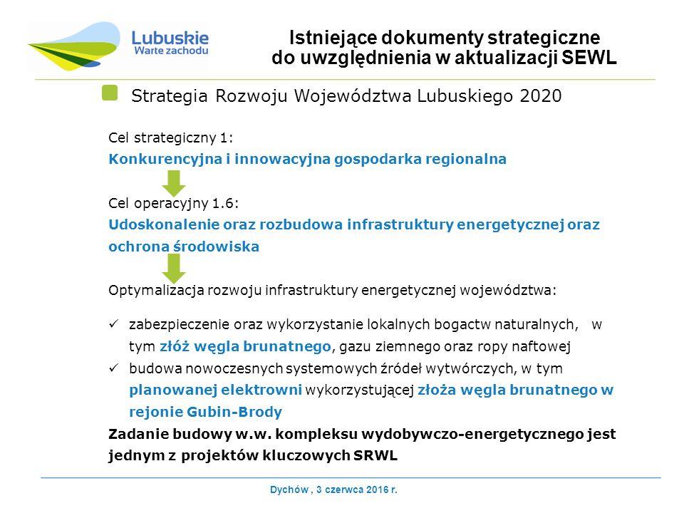 Cel strategiczny 1: Konkurencyjna i innowacyjna gospodarka regionalna Cel operacyjny 1.6: Udoskonalenie oraz rozbudowa infrastruktury energetycznej oraz ochrona środowiska Optymalizacja rozwoju infrastruktury energetycznej województwa: zabezpieczenie oraz wykorzystanie lokalnych bogactw naturalnych, w tym złóż węgla brunatnego, gazu ziemnego oraz ropy naftowej budowa nowoczesnych systemowych źródeł wytwórczych, w tym planowanej elektrowni wykorzystującej złoża węgla brunatnego w rejonie Gubin-Brody Zadanie budowy w.w.