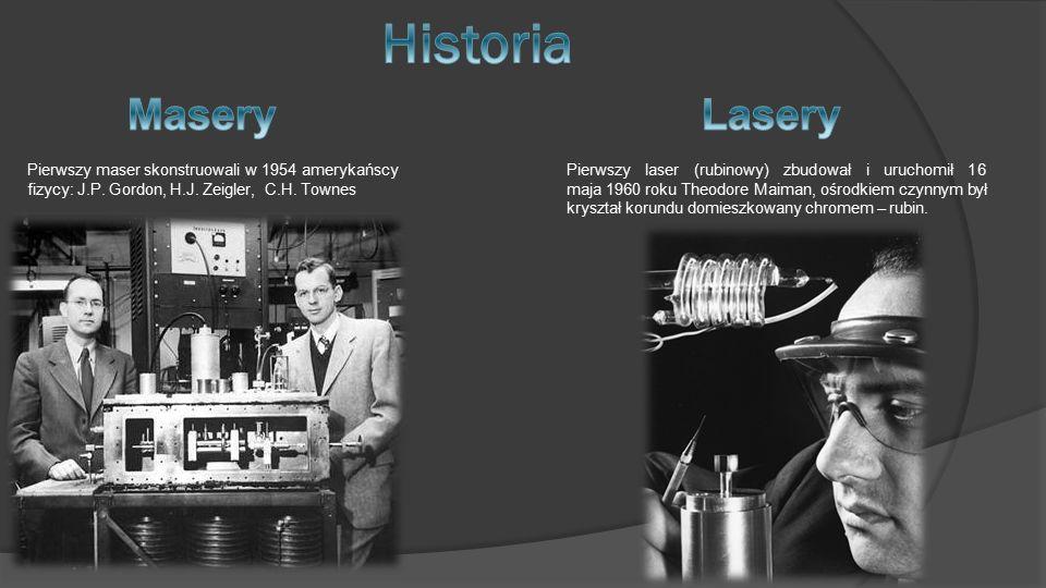 Pierwszy laser (rubinowy) zbudował i uruchomił 16 maja 1960 roku Theodore Maiman, ośrodkiem czynnym był kryształ korundu domieszkowany chromem – rubin.