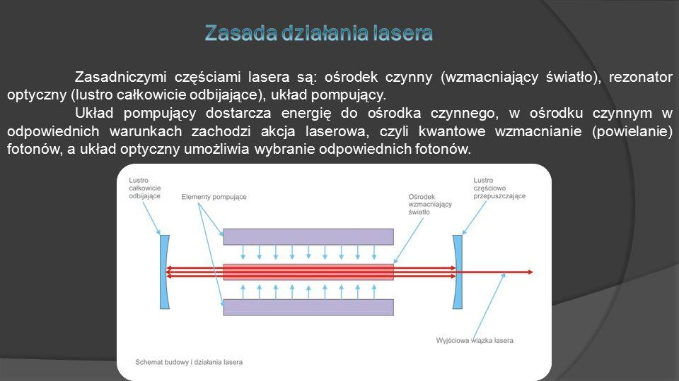 Zasadniczymi częściami lasera są: ośrodek czynny (wzmacniający światło), rezonator optyczny (lustro całkowicie odbijające), układ pompujący.
