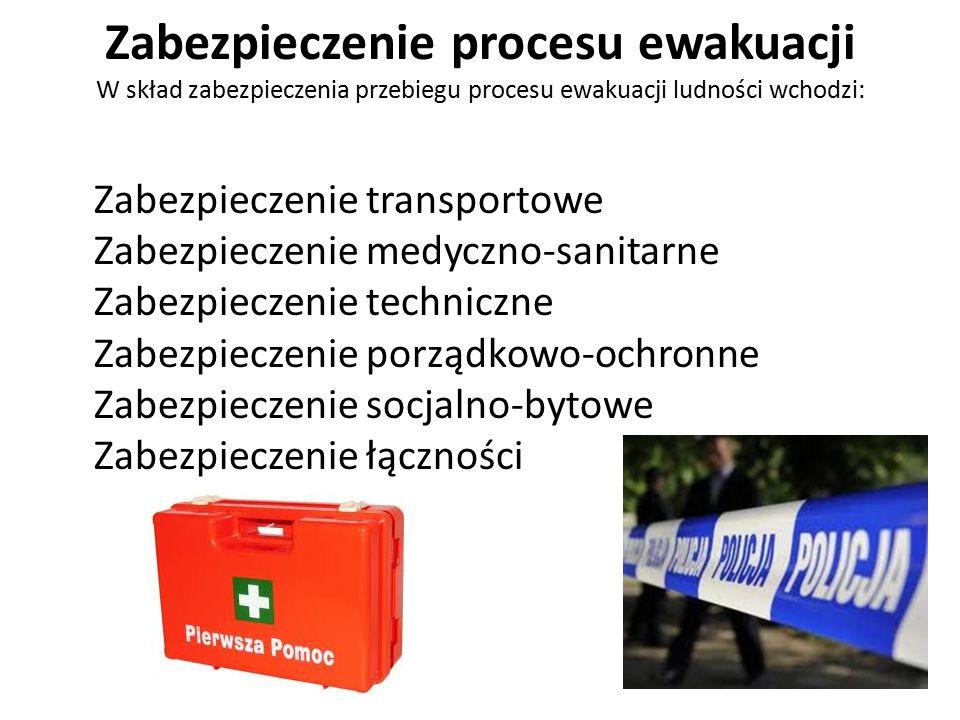 Zabezpieczenie procesu ewakuacji W skład zabezpieczenia przebiegu procesu ewakuacji ludności wchodzi: Zabezpieczenie transportowe Zabezpieczenie medyczno-sanitarne Zabezpieczenie techniczne Zabezpieczenie porządkowo-ochronne Zabezpieczenie socjalno-bytowe Zabezpieczenie łączności