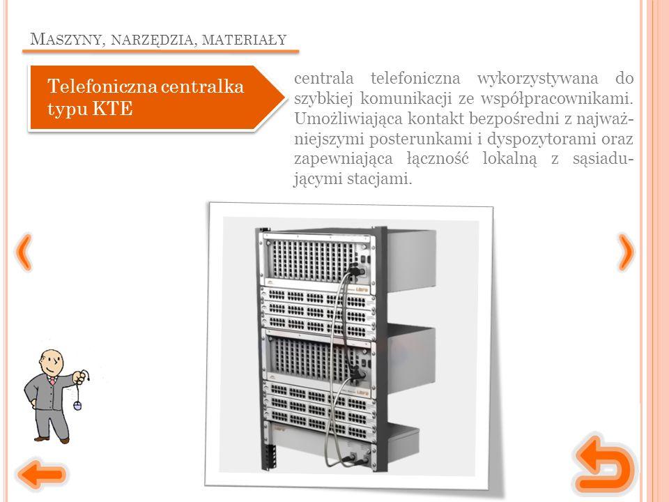 M ASZYNY, NARZĘDZIA, MATERIAŁY Telefoniczna centralka typu KTE centrala telefoniczna wykorzystywana do szybkiej komunikacji ze współpracownikami. Umoż