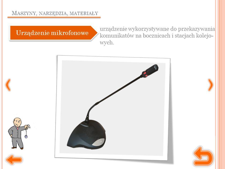 M ASZYNY, NARZĘDZIA, MATERIAŁY urządzenie wykorzystywane do przekazywania komunikatów na bocznicach i stacjach kolejo- wych.