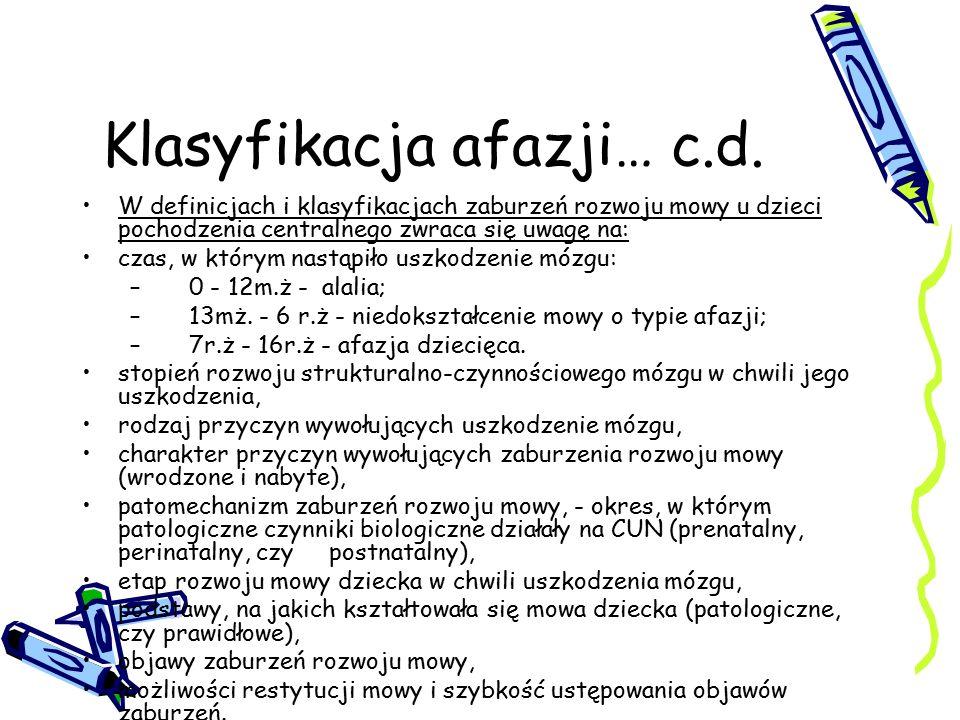 Klasyfikacja afazji… c.d. W definicjach i klasyfikacjach zaburzeń rozwoju mowy u dzieci pochodzenia centralnego zwraca się uwagę na: czas, w którym na