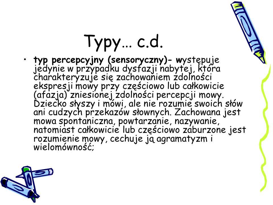 Typy… c.d. typ percepcyjny (sensoryczny)- występuje jedynie w przypadku dysfazji nabytej, która charakteryzuje się zachowaniem zdolności ekspresji mow