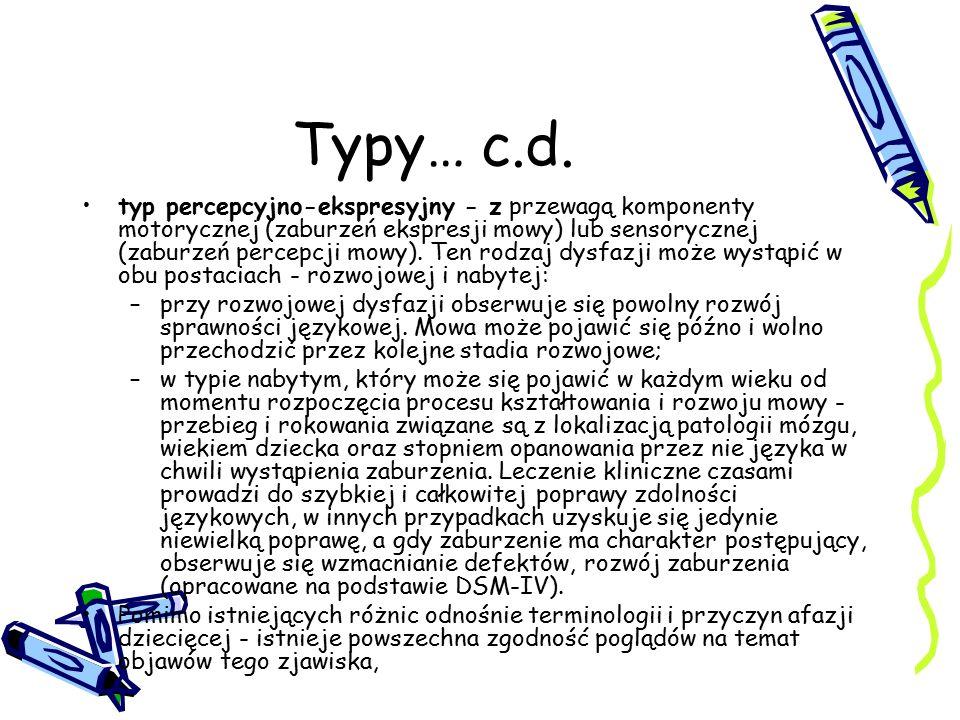 Typy… c.d. typ percepcyjno-ekspresyjny - z przewagą komponenty motorycznej (zaburzeń ekspresji mowy) lub sensorycznej (zaburzeń percepcji mowy). Ten r