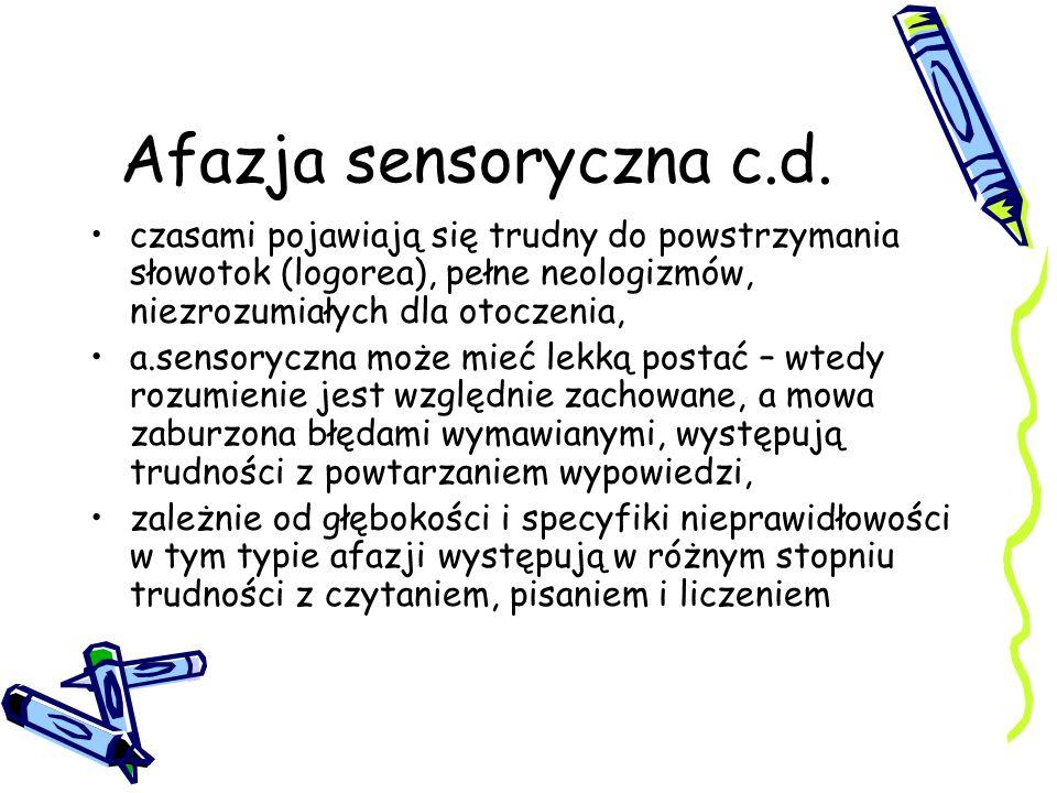 Afazja sensoryczna c.d. czasami pojawiają się trudny do powstrzymania słowotok (logorea), pełne neologizmów, niezrozumiałych dla otoczenia, a.sensoryc