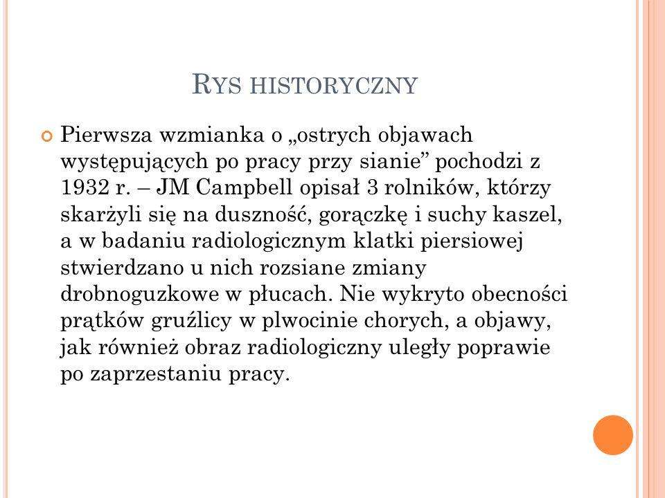 """R YS HISTORYCZNY Pierwsza wzmianka o """"ostrych objawach występujących po pracy przy sianie pochodzi z 1932 r."""