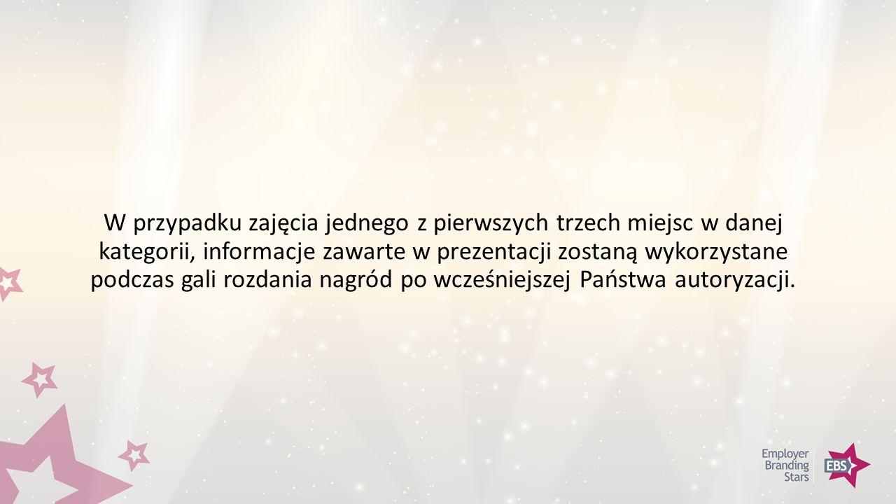 W przypadku zajęcia jednego z pierwszych trzech miejsc w danej kategorii, informacje zawarte w prezentacji zostaną wykorzystane podczas gali rozdania nagród po wcześniejszej Państwa autoryzacji.