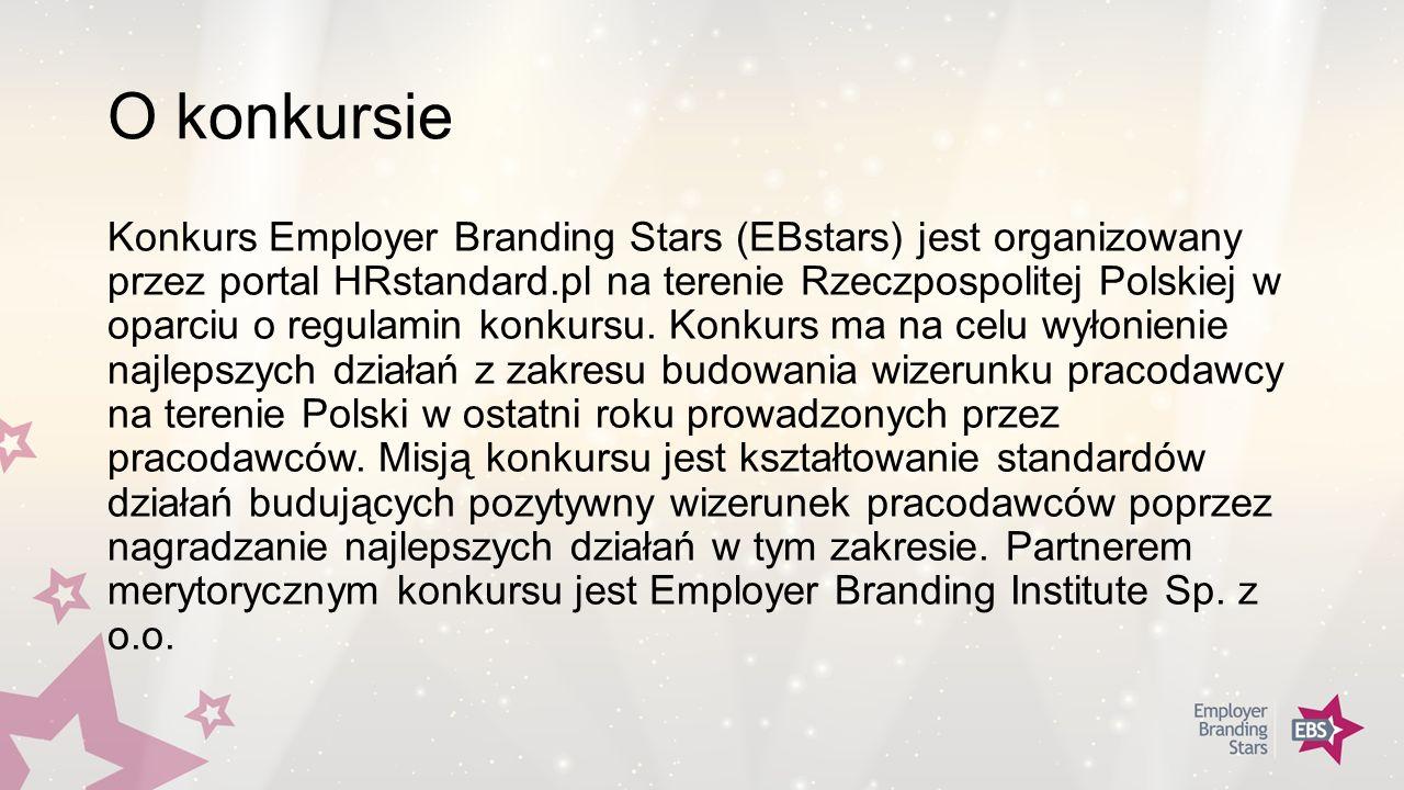 O konkursie Konkurs Employer Branding Stars (EBstars) jest organizowany przez portal HRstandard.pl na terenie Rzeczpospolitej Polskiej w oparciu o regulamin konkursu.