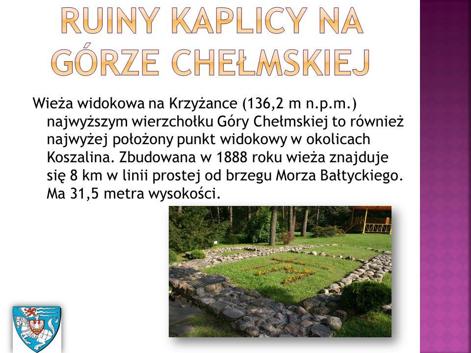 Wieża widokowa na Krzyżance (136,2 m n.p.m.) najwyższym wierzchołku Góry Chełmskiej to również najwyżej położony punkt widokowy w okolicach Koszalina.