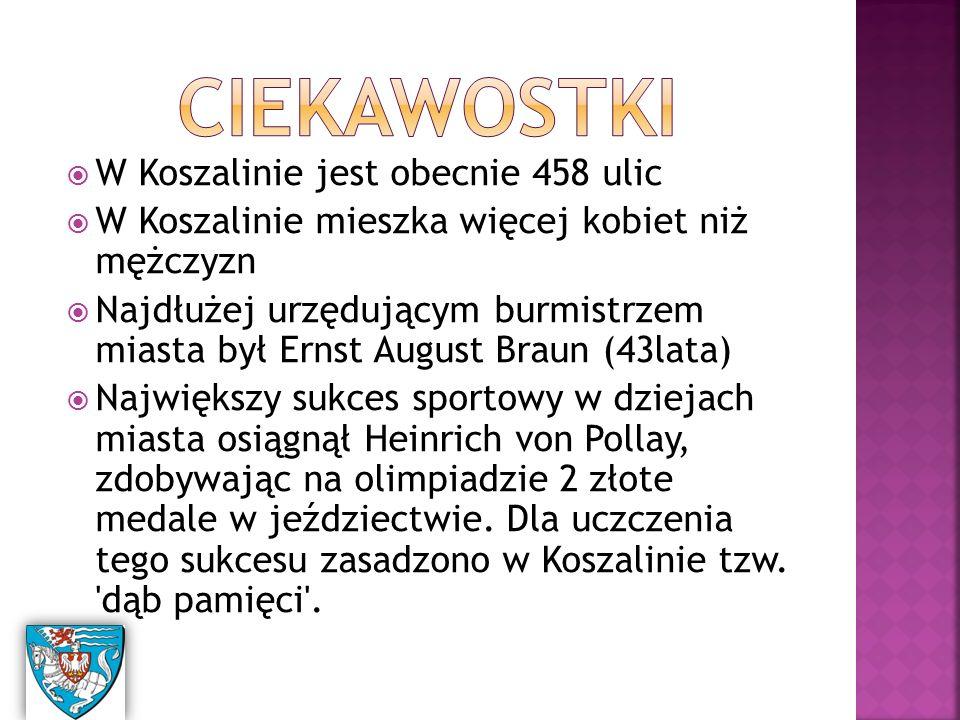 W Koszalinie jest obecnie 458 ulic  W Koszalinie mieszka więcej kobiet niż mężczyzn  Najdłużej urzędującym burmistrzem miasta był Ernst August Braun (43lata)  Największy sukces sportowy w dziejach miasta osiągnął Heinrich von Pollay, zdobywając na olimpiadzie 2 złote medale w jeździectwie.