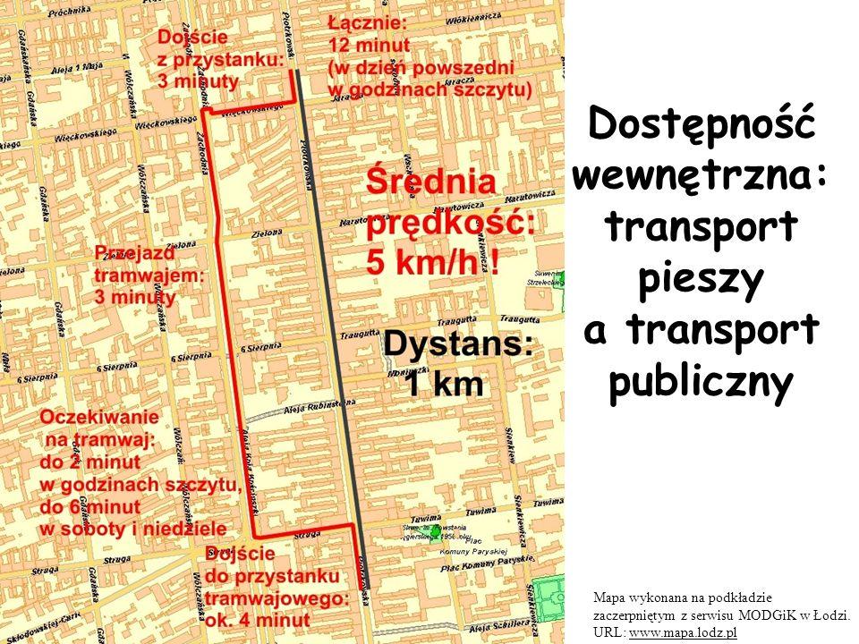 Dostępność wewnętrzna: transport pieszy a transport publiczny Mapa wykonana na podkładzie zaczerpniętym z serwisu MODGiK w Łodzi.
