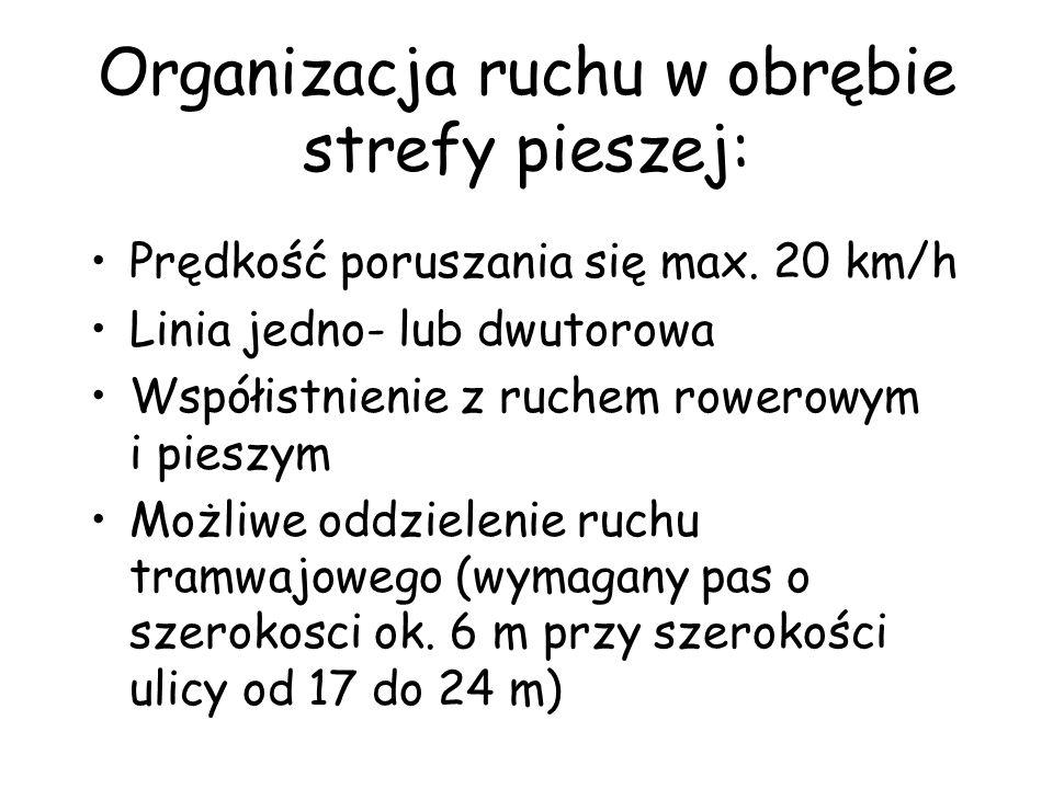 Organizacja ruchu w obrębie strefy pieszej: Prędkość poruszania się max.