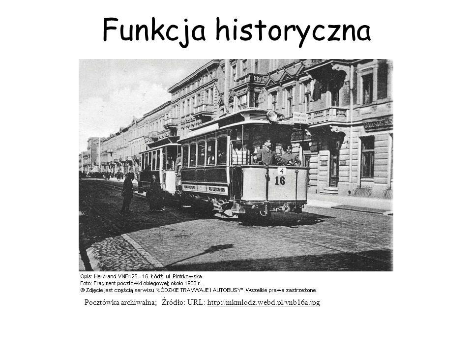 Funkcja historyczna Pocztówka archiwalna; Źródło: URL: http://mkmlodz.webd.pl/vnb16a.jpg