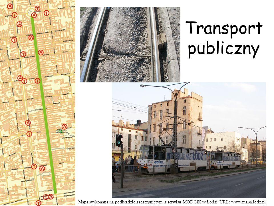 Transport publiczny Mapa wykonana na podkładzie zaczerpniętym z serwisu MODGiK w Łodzi.