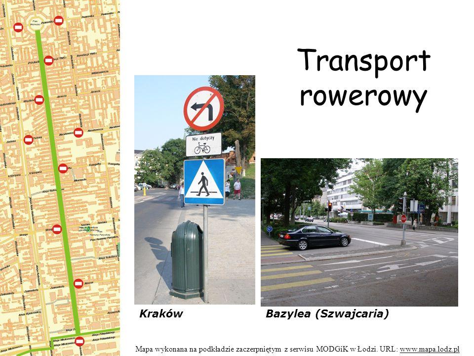 Transport rowerowy Mapa wykonana na podkładzie zaczerpniętym z serwisu MODGiK w Łodzi.
