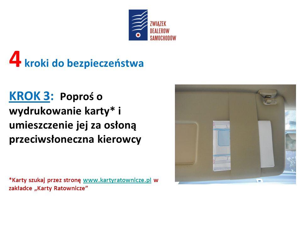"""4 kroki do bezpieczeństwa KROK 3: Poproś o wydrukowanie karty* i umieszczenie jej za osłoną przeciwsłoneczna kierowcy *Karty szukaj przez stronę www.kartyratownicze.pl w zakładce """"Karty Ratownicze www.kartyratownicze.pl"""