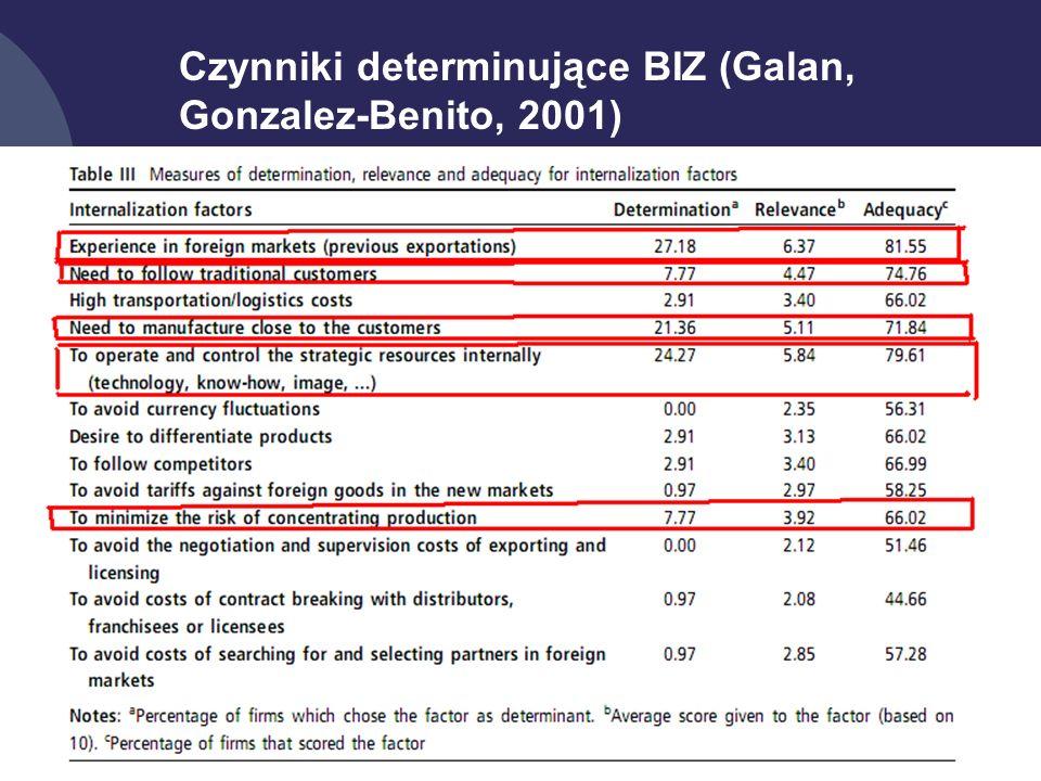 15 Czynniki determinujące BIZ (Galan, Gonzalez-Benito, 2001)