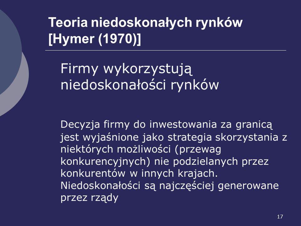 17 Teoria niedoskonałych rynków [Hymer (1970)] Firmy wykorzystują niedoskonałości rynków Decyzja firmy do inwestowania za granicą jest wyjaśnione jako strategia skorzystania z niektórych możliwości (przewag konkurencyjnych) nie podzielanych przez konkurentów w innych krajach.