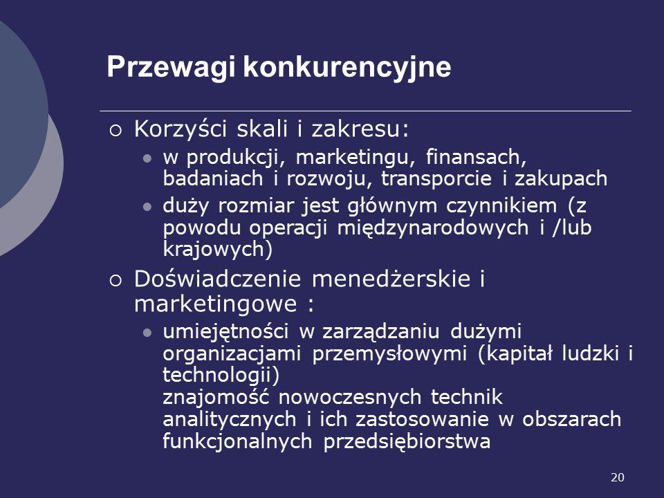 20 Przewagi konkurencyjne  Korzyści skali i zakresu: w produkcji, marketingu, finansach, badaniach i rozwoju, transporcie i zakupach duży rozmiar jest głównym czynnikiem (z powodu operacji międzynarodowych i /lub krajowych)  Doświadczenie menedżerskie i marketingowe : umiejętności w zarządzaniu dużymi organizacjami przemysłowymi (kapitał ludzki i technologii) znajomość nowoczesnych technik analitycznych i ich zastosowanie w obszarach funkcjonalnych przedsiębiorstwa