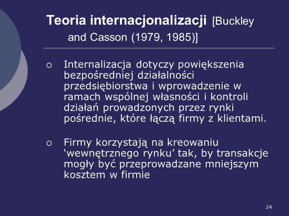 24 Teoria internacjonalizacji [Buckley and Casson (1979, 1985)]  Internalizacja dotyczy powiększenia bezpośredniej działalności przedsiębiorstwa i wprowadzenie w ramach wspólnej własności i kontroli działań prowadzonych przez rynki pośrednie, które łączą firmy z klientami.