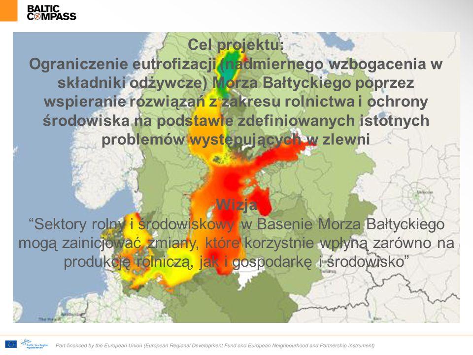 Cel projektu: Ograniczenie eutrofizacji (nadmiernego wzbogacenia w składniki odżywcze) Morza Bałtyckiego poprzez wspieranie rozwiązań z zakresu rolnictwa i ochrony środowiska na podstawie zdefiniowanych istotnych problemów występujących w zlewni Wizja Sektory rolny i środowiskowy w Basenie Morza Bałtyckiego mogą zainicjować zmiany, które korzystnie wpłyną zarówno na produkcję rolniczą, jak i gospodarkę i środowisko