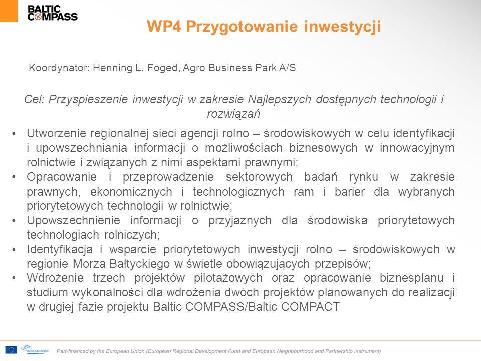 WP4 Przygotowanie inwestycji Koordynator: Henning L.