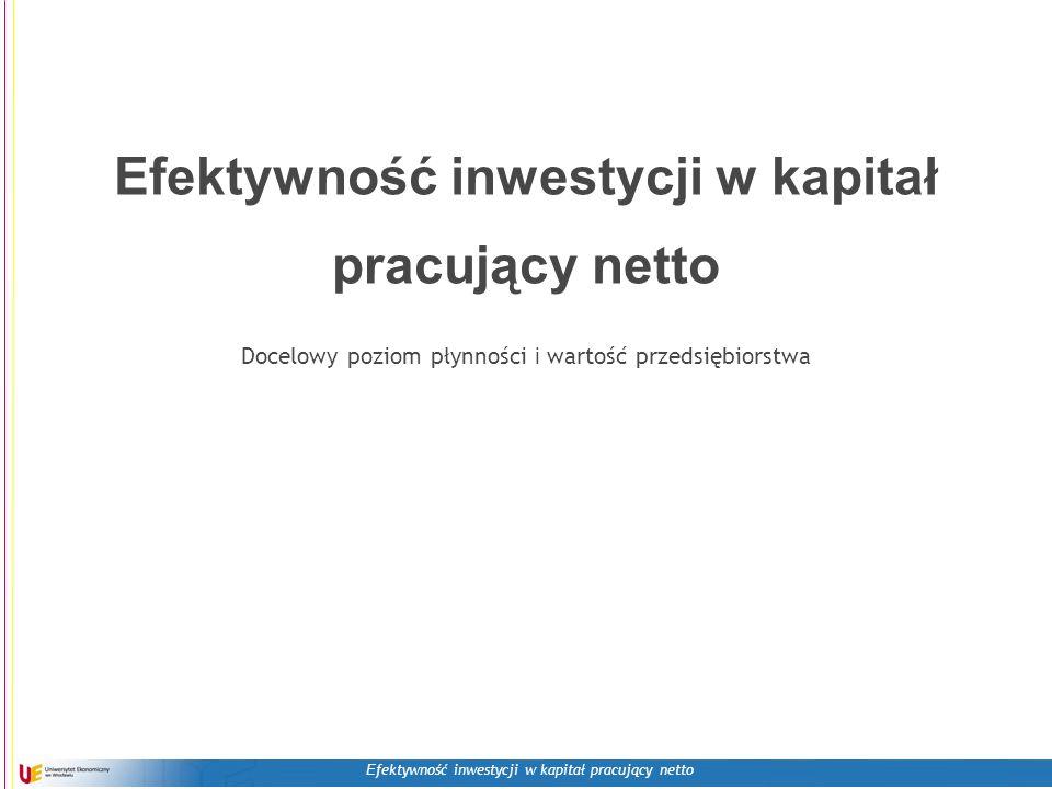 E fektywność inwestycji w kapitał pracujący netto Efektywność inwestycji w kapitał pracujący netto Docelowy poziom płynności i wartość przedsiębiorstwa
