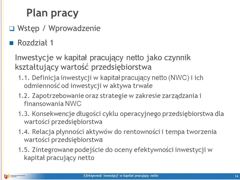 E fektywność inwestycji w kapitał pracujący netto 14 Plan pracy  Wstęp / Wprowadzenie Rozdział 1 Inwestycje w kapitał pracujący netto jako czynnik ks