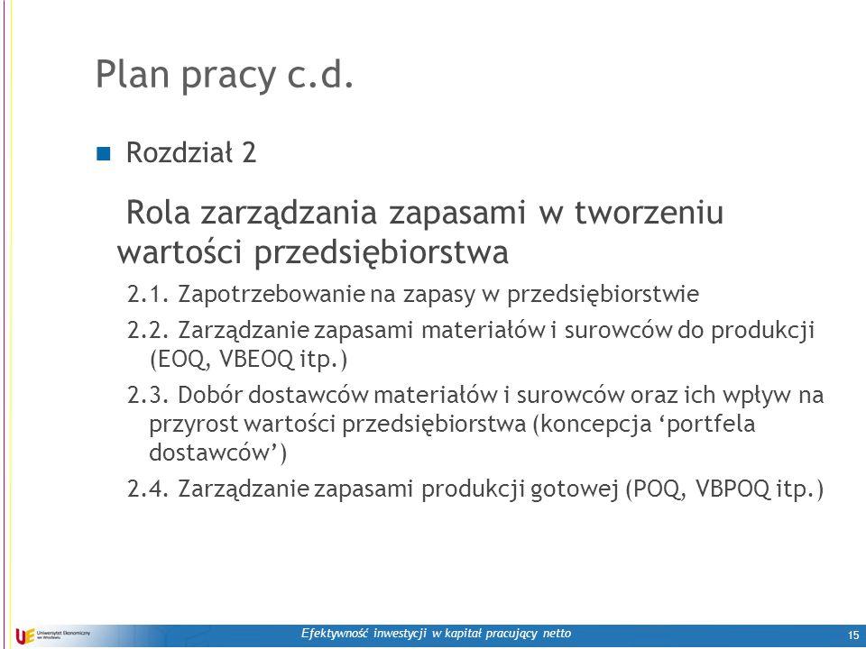 E fektywność inwestycji w kapitał pracujący netto 15 Plan pracy c.d.