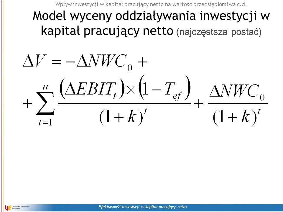 E fektywność inwestycji w kapitał pracujący netto Wpływ inwestycji w kapitał pracujący netto na wartość przedsiębiorstwa c.d.