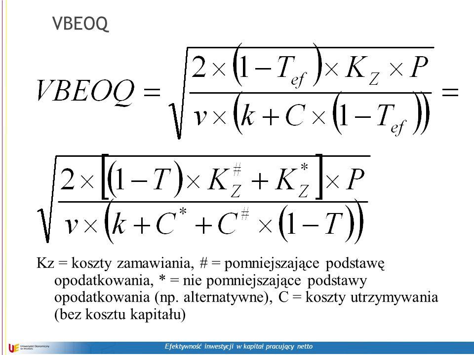 E fektywność inwestycji w kapitał pracujący netto VBEOQ Kz = koszty zamawiania, # = pomniejszające podstawę opodatkowania, * = nie pomniejszające pods