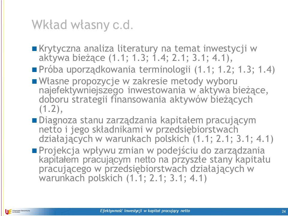 E fektywność inwestycji w kapitał pracujący netto 24 Wkład własny c.d. Krytyczna analiza literatury na temat inwestycji w aktywa bieżące (1.1; 1.3; 1.