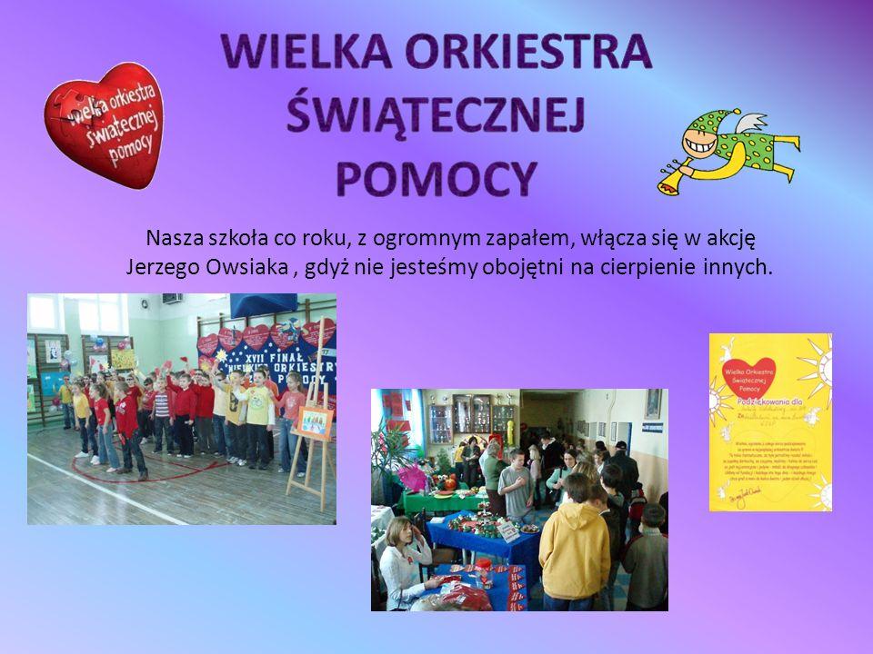 Nasza szkoła co roku, z ogromnym zapałem, włącza się w akcję Jerzego Owsiaka, gdyż nie jesteśmy obojętni na cierpienie innych.
