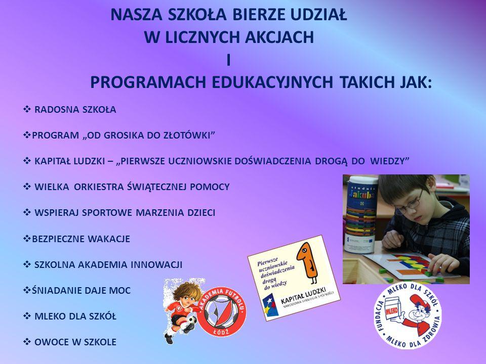 Szkoła realizuje projekt PIERWSZE UCZNIOWSKIE DOŚWIADCZENIA DROGĄ DO WIEDZY , na zlecenie Ministerstwa Edukacji Narodowej, w ramach Programu Operacyjnego Kapitał Ludzki.