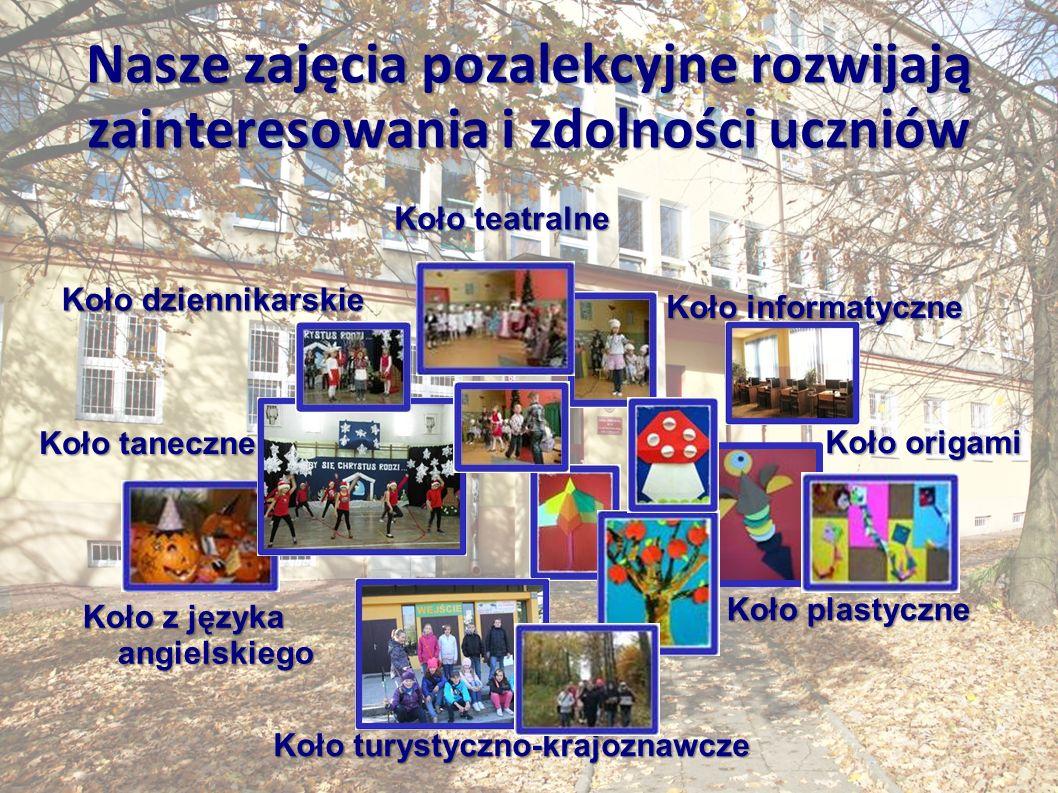 Nasze zajęcia pozalekcyjne rozwijają zainteresowania i zdolności uczniów Kołoteatralne Koło teatralne Koło plastyczne Kołoorigami Koło origami Koło dziennikarskie Kołoinformatyczne Koło informatyczne Kołotaneczne Koło taneczne Koło z języka angielskiego Koło turystyczno-krajoznawcze