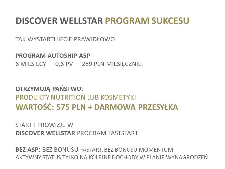 DISCOVER WELLSTAR PROGRAM SUKCESU TAK WYSTARTUJECIE PRAWIDŁOWO PROGRAM AUTOSHIP-ASP 6 MIESIĘCY 0,6 PV289 PLN MIESIĘCZNIE.