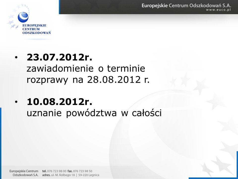 23.07.2012r. zawiadomienie o terminie rozprawy na 28.08.2012 r. 10.08.2012r. uznanie powództwa w całości