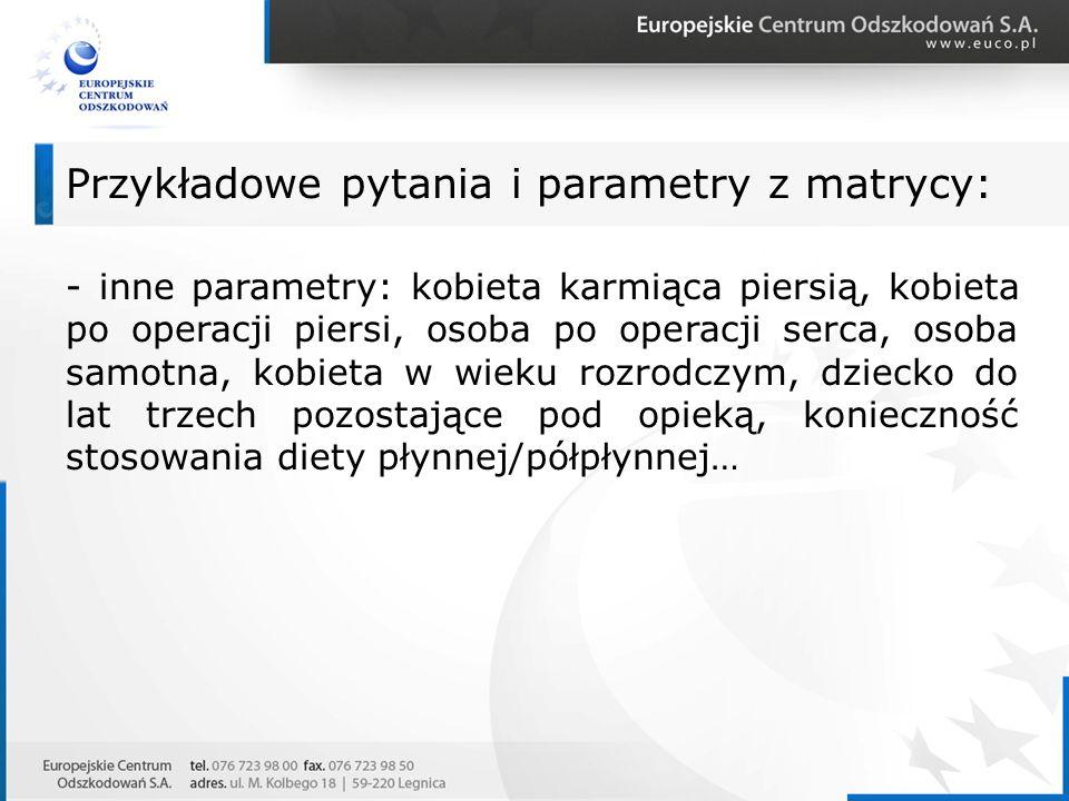 - inne parametry: kobieta karmiąca piersią, kobieta po operacji piersi, osoba po operacji serca, osoba samotna, kobieta w wieku rozrodczym, dziecko do