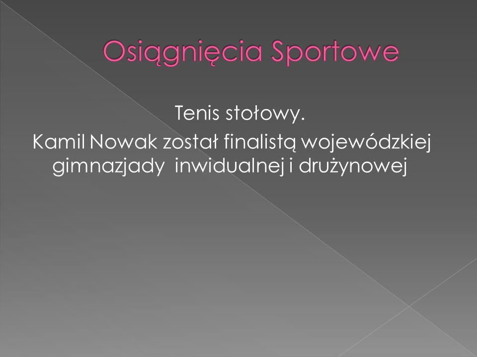 Tenis stołowy. Kamil Nowak został finalistą wojewódzkiej gimnazjady inwidualnej i drużynowej