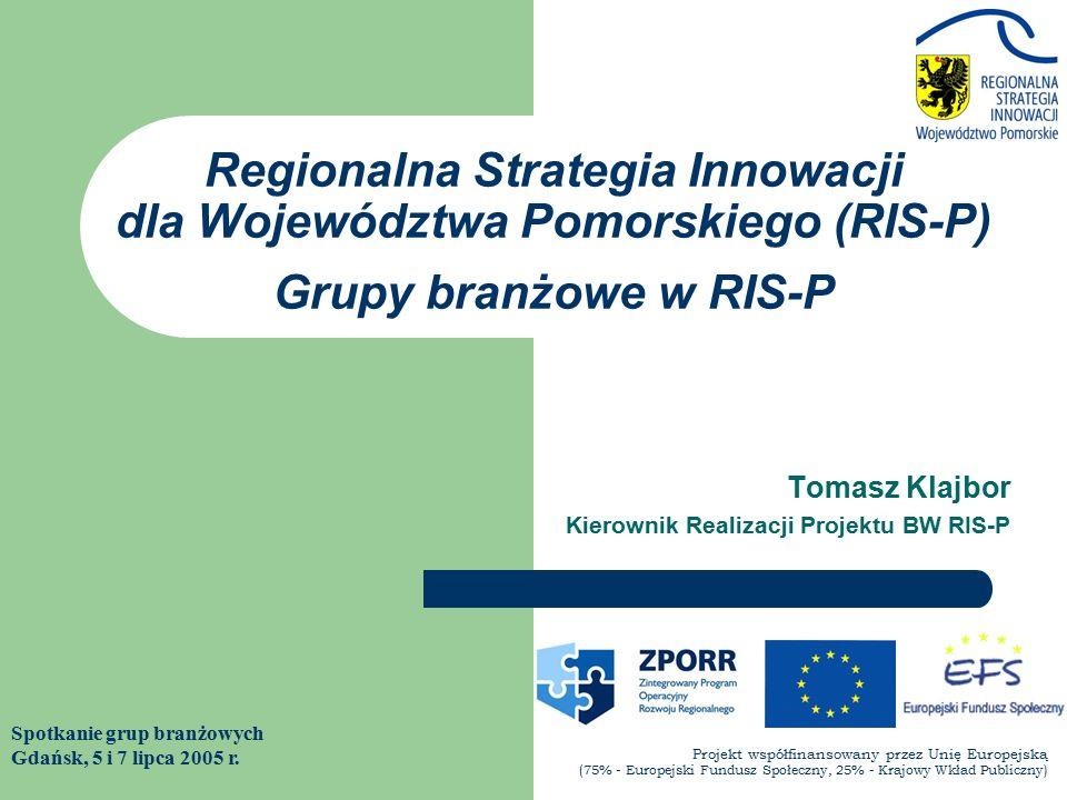Tomasz Klajbor Kierownik Realizacji Projektu BW RIS-P Spotkanie grup branżowych Gdańsk, 5 i 7 lipca 2005 r.