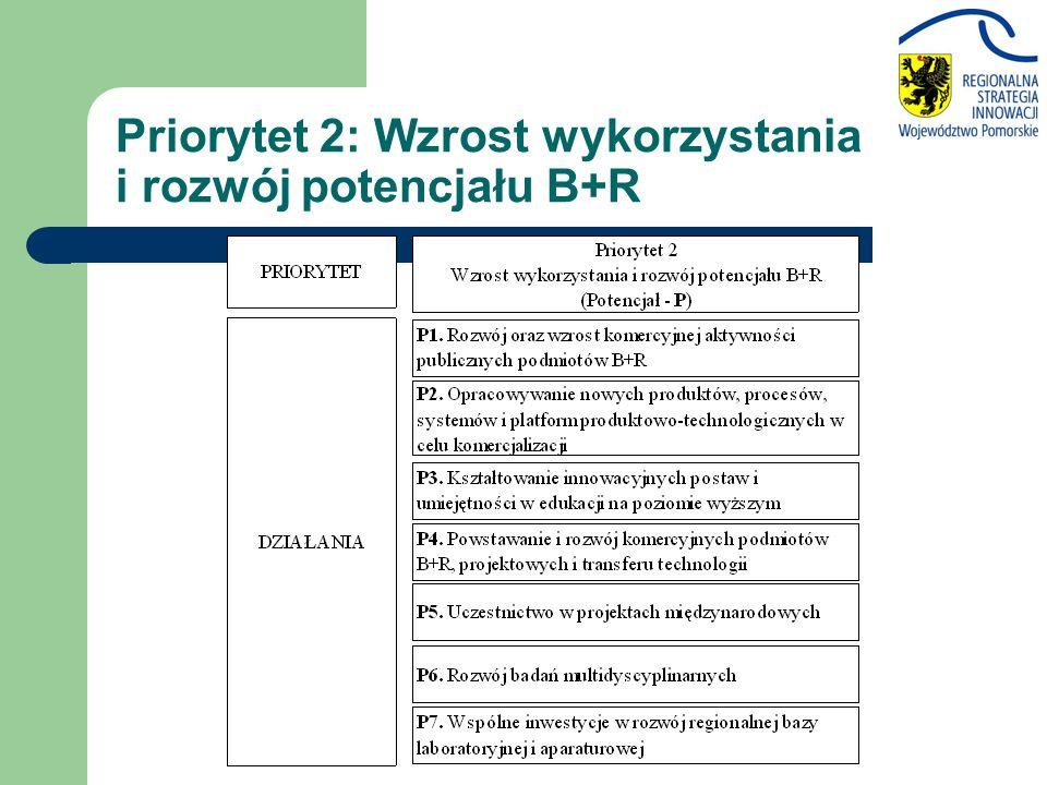 Priorytet 2: Wzrost wykorzystania i rozwój potencjału B+R