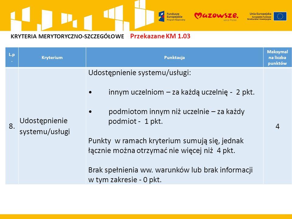 L.p.KryteriumPunktacja Maksymal na liczba punktów 8.