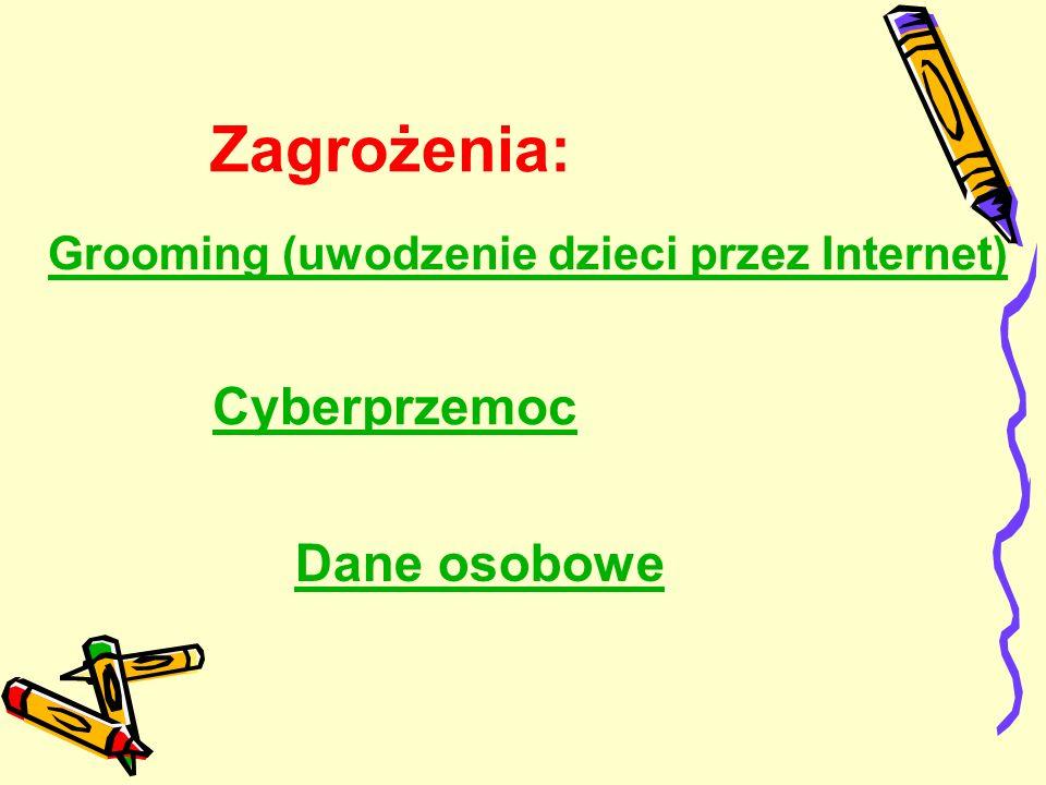 Zagrożenia: Cyberprzemoc Grooming (uwodzenie dzieci przez Internet) Dane osobowe
