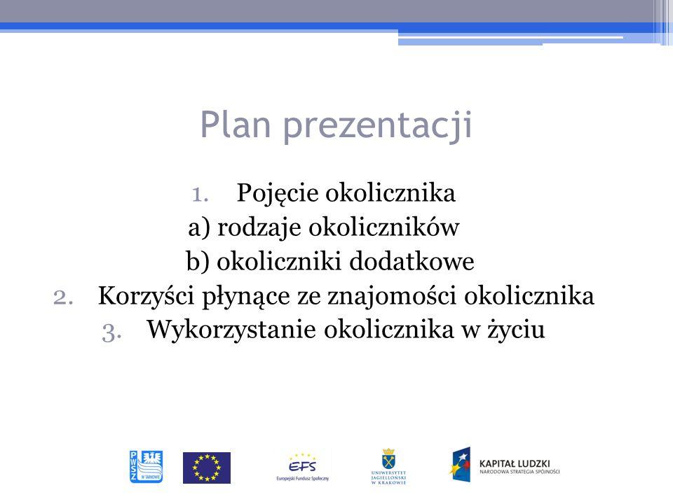 Plan prezentacji 1.Pojęcie okolicznika a) rodzaje okoliczników b) okoliczniki dodatkowe 2.Korzyści płynące ze znajomości okolicznika 3.Wykorzystanie okolicznika w życiu