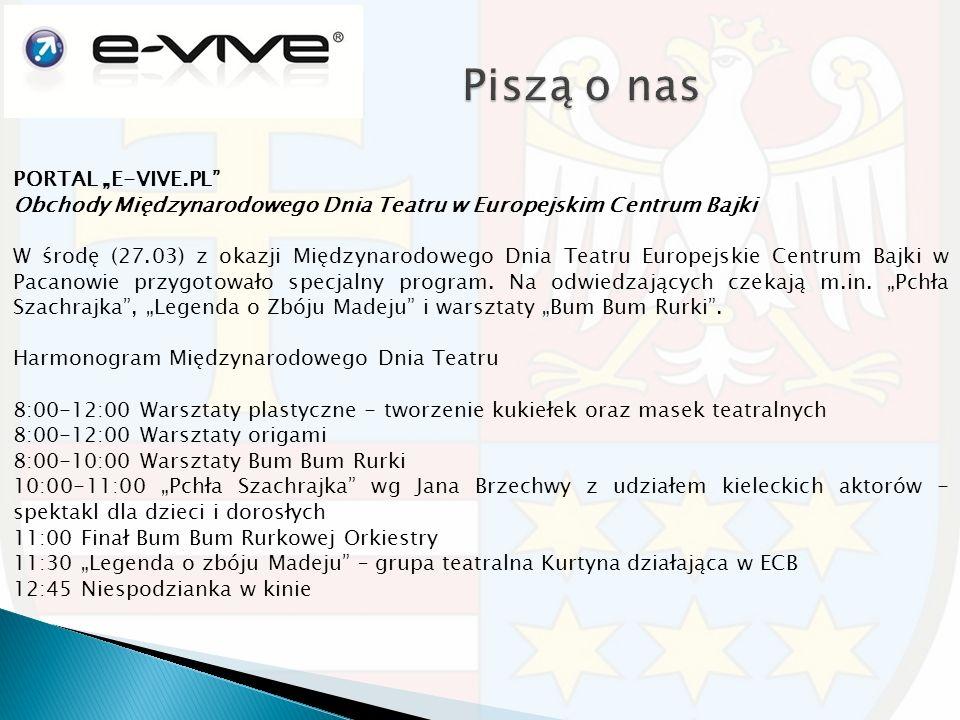 """PORTAL """"E-VIVE.PL Obchody Międzynarodowego Dnia Teatru w Europejskim Centrum Bajki W środę (27.03) z okazji Międzynarodowego Dnia Teatru Europejskie Centrum Bajki w Pacanowie przygotowało specjalny program."""