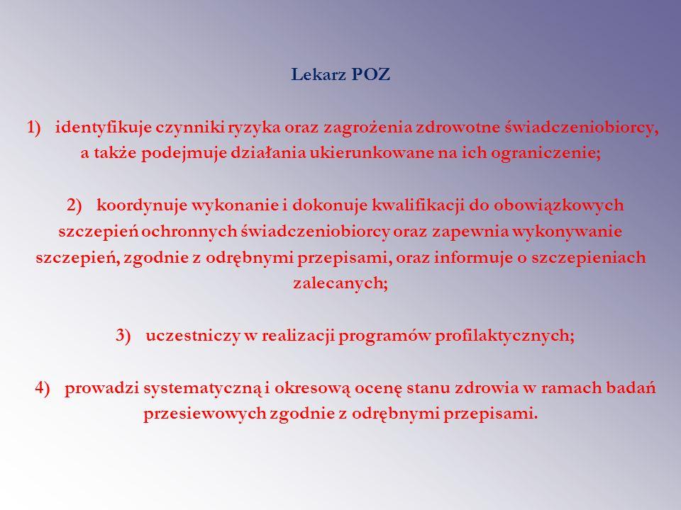 Pielęgniarka POZ – zadania w zakresie edukacji i profilaktyki 1) rozpoznawanie, ocenę i zapobieganie zagrożeniom zdrowotnym u świadczeniobiorców; 2) rozpoznawanie potrzeb pielęgnacyjnych i problemów zdrowotnych świadczeniobiorców; 3) prowadzenie edukacji zdrowotnej; 4) prowadzenie poradnictwa w zakresie zdrowego stylu życia; 5) monitorowanie rozwoju dziecka zgodnie z odrębnymi przepisami; 6) realizację programów zdrowotnych i profilaktyki chorób; 7) prowadzenie działań profilaktycznych u świadczeniobiorców z grup ryzyka zdrowotnego; 8) organizacja grup wsparcia; 9) profilaktyka chorób wieku rozwojowego; 10) edukacja w zakresie obowiązkowych szczepień ochronnych oraz informacje o szczepieniach zalecanych.
