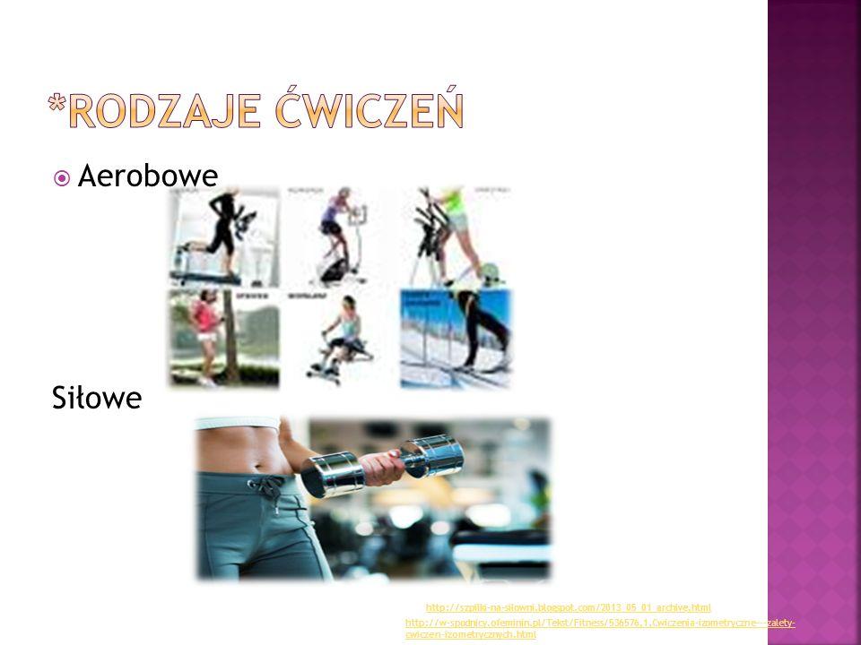  Aerobowe Siłowe http://w-spodnicy.ofeminin.pl/Tekst/Fitness/536576,1,Cwiczenia-izometryczne---zalety- cwiczen-izometrycznych.html http://szpilki-na-