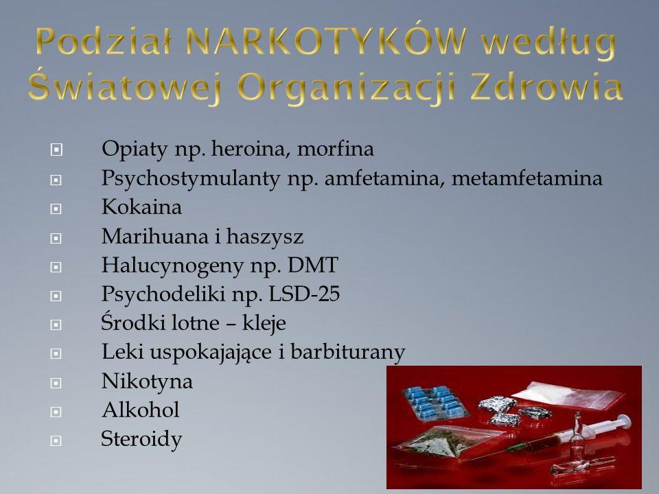  Opiaty np. heroina, morfina  Psychostymulanty np.